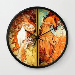Art Nouveau Mucha Four Seasons Wall Clock