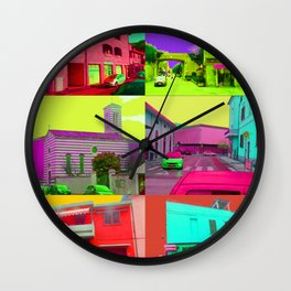Cells (full saturation city photography collage) Wall Clock