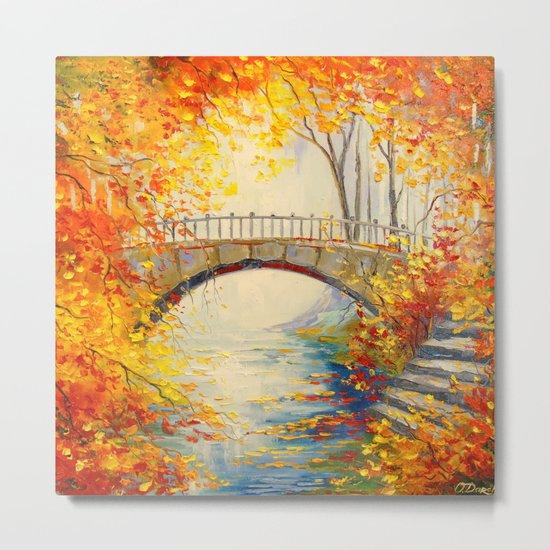 Autumn near the bridge Metal Print