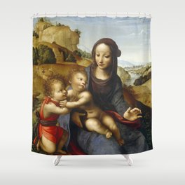 "Fernando Yáñez de la Almedina ""The Virgin with Child and Little (Infant) Saint John [the Baptist]"" Shower Curtain"