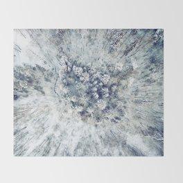 AERIAL. Frozen forest in winter Throw Blanket