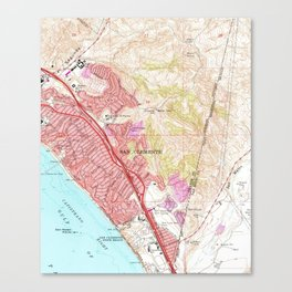 Vintage Map of San Clemente California (1968) Canvas Print