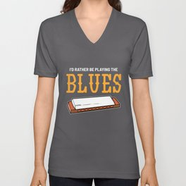 Playing The Blues Country Music Player Harp Gift Unisex V-Neck