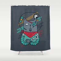 android Shower Curtains featuring Space pirate cat by Anna Alekseeva kostolom3000