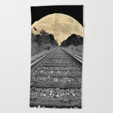 Crow over Railroad Tracks to the Moon A256 Beach Towel