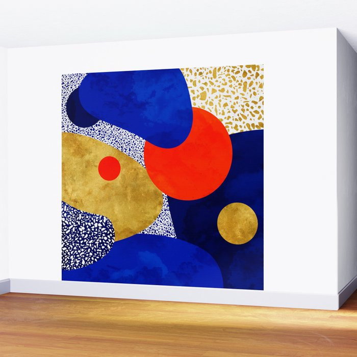 Terrazzo galaxy blue night yellow gold orange Wall Mural