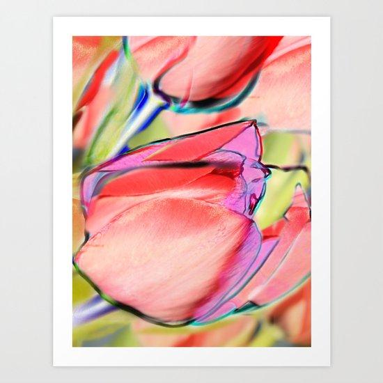 Pink tulips. Art Print