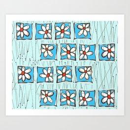 Blue Flower Party Art Print