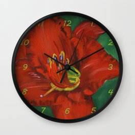 Red Daylily Painting Canvas Print Wall Clock