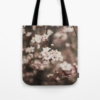 cherry blossom Tote Bags featuring Cherry Blossom by Evan Dalen