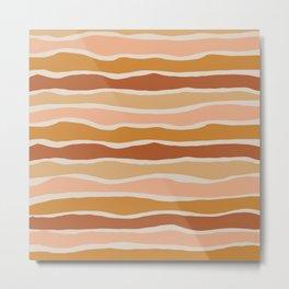 Organic Layer Stripes Stripe Pattern in Clay Ochre Putty Rust Blush Earth Tones Metal Print