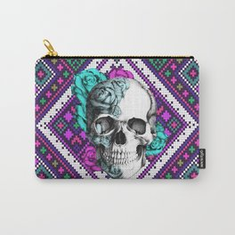 Rose skull on aztec pixel pattern Carry-All Pouch