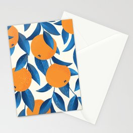 Vintage oranges on the branches with blue leaves hand drawn illustration pattern Stationery Cards