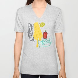 Leaning Tower of Cheesah! Unisex V-Neck