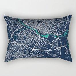 Austin Blue Dark Color City Map Rectangular Pillow