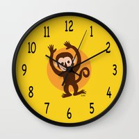 monkey island Wall Clocks featuring Monkey by BATKEI