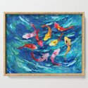 Koi fish rainbow abstract paintings by digitalizedteam