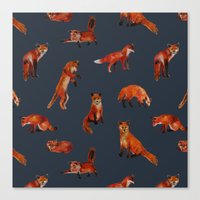 foxes Canvas Prints featuring Foxes by Katelyn Patton