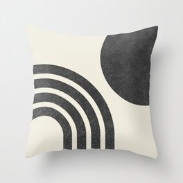 Mid century modern - Sun & Rainbow black Throw Pillow