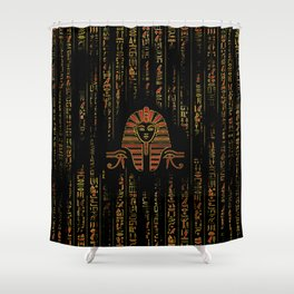 Egyptian  Sphinx on hieroglyphics red crystal and gold Shower Curtain