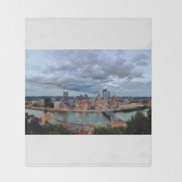 My City of Steel Panorama Throw Blanket