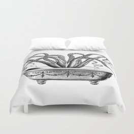 Tentacles in the Tub | Octopus | Black and White Duvet Cover
