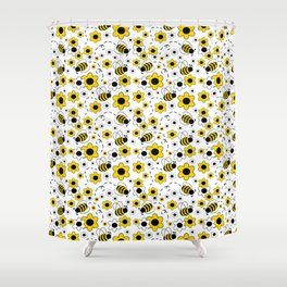 Honey Bumble Bee Yellow Floral Pattern Shower Curtain