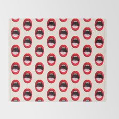 Red Lips Throw Blanket