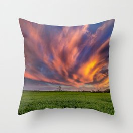 Natural Beauty - Sunlight Illuminates Clouds on Spring Evening in Oklahoma Throw Pillow