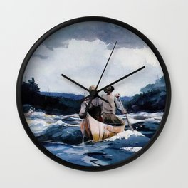 Canoe in the Rapids river landscape by Winslow H-o-m-e-r Wall Clock