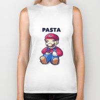 pasta Biker Tanks featuring Pasta Mario by Joel Hinojosa