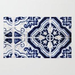 blue tile pattern VII - Azulejos, Portuguese tiles Rug