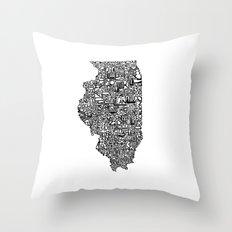 Typographic Illinois Throw Pillow