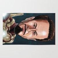 robert downey jr Area & Throw Rugs featuring Robert Downey Jr by Carrillo Art Studio