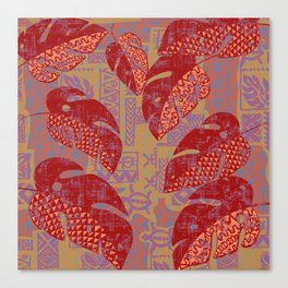 Hawaiian Lava Leaves Tapa Print Canvas Print
