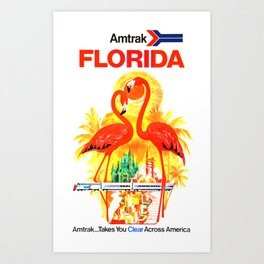 Amtrak Florida - Vintage Travel Poster Art Print