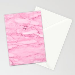 Hollywood Pink Faux Marble Stationery Cards
