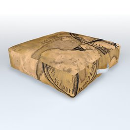 Destinations - Compass Rose and World Map Outdoor Floor Cushion