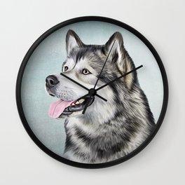 Drawing Dog Alaskan Malamute Wall Clock