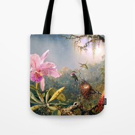 Nature's Fantasy : Cattyela Orchid and Three Brazilian Hummingbirds Tote Bag
