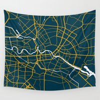 germany Wall Tapestries featuring Berlin Germany Map by Studio Tesouro