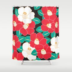 Japanese Style Camellia - Red and Black Shower Curtain