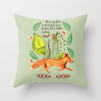 sayings Throw Pillows featuring Every Fox...fox, sayings, typography, quote, nature, leaves by Slumbermonkey Designs