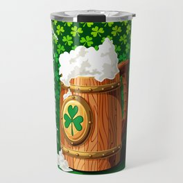Wooden beer mug with foam and clover Travel Mug