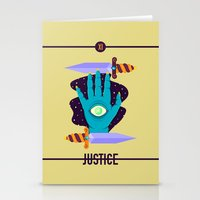 justice league Stationery Cards featuring JUSTICE by badOdds