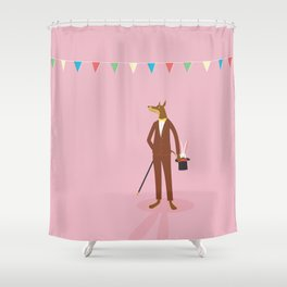 Doberman And Sleeping Rabbit Shower Curtain