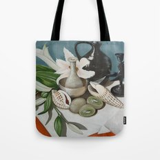 Kiwi fruit & Lillies Tote Bag