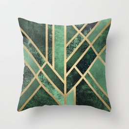 Art Deco Emerald Throw Pillow