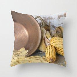 cob and pot with flour Throw Pillow