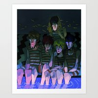 iwatobi Art Prints featuring FREE! IWATOBI SWIM CLUB again by Frank Odlaws